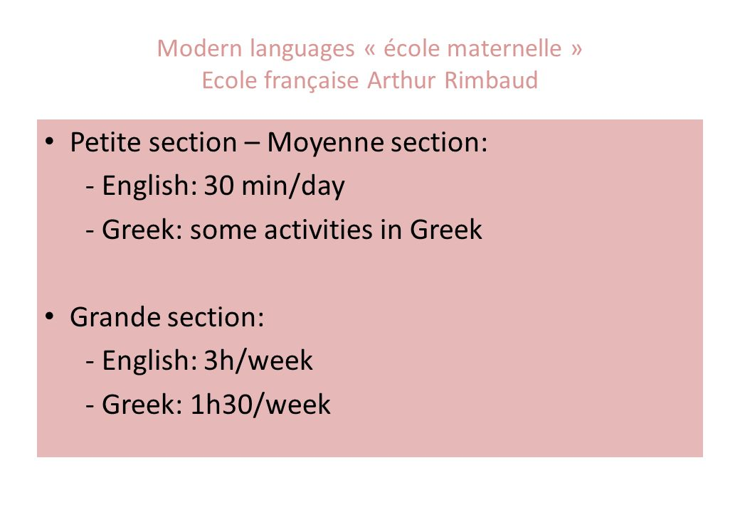 Modern languages « école maternelle » Ecole française Arthur Rimbaud