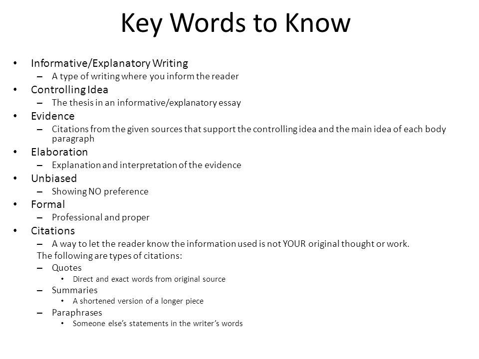 Informative explanatory essay