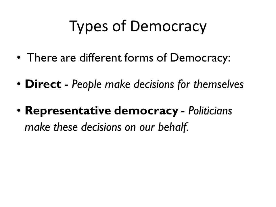 What describes the type of democracy in the US?