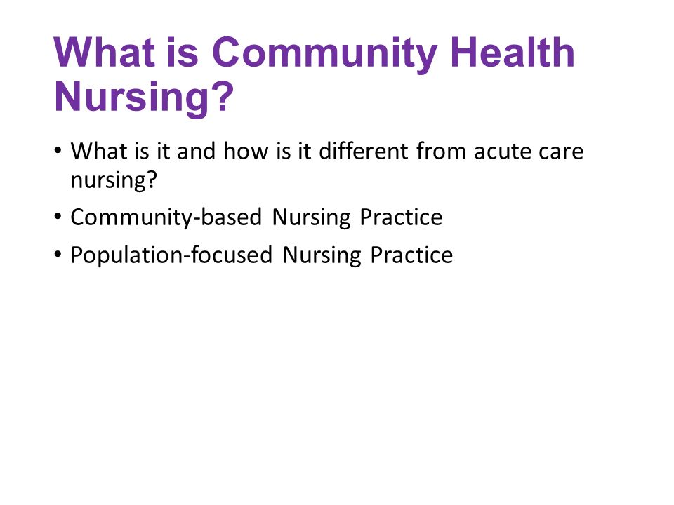 Population-Focused Practice: The Foundation of Specialization in Public Health Nursing