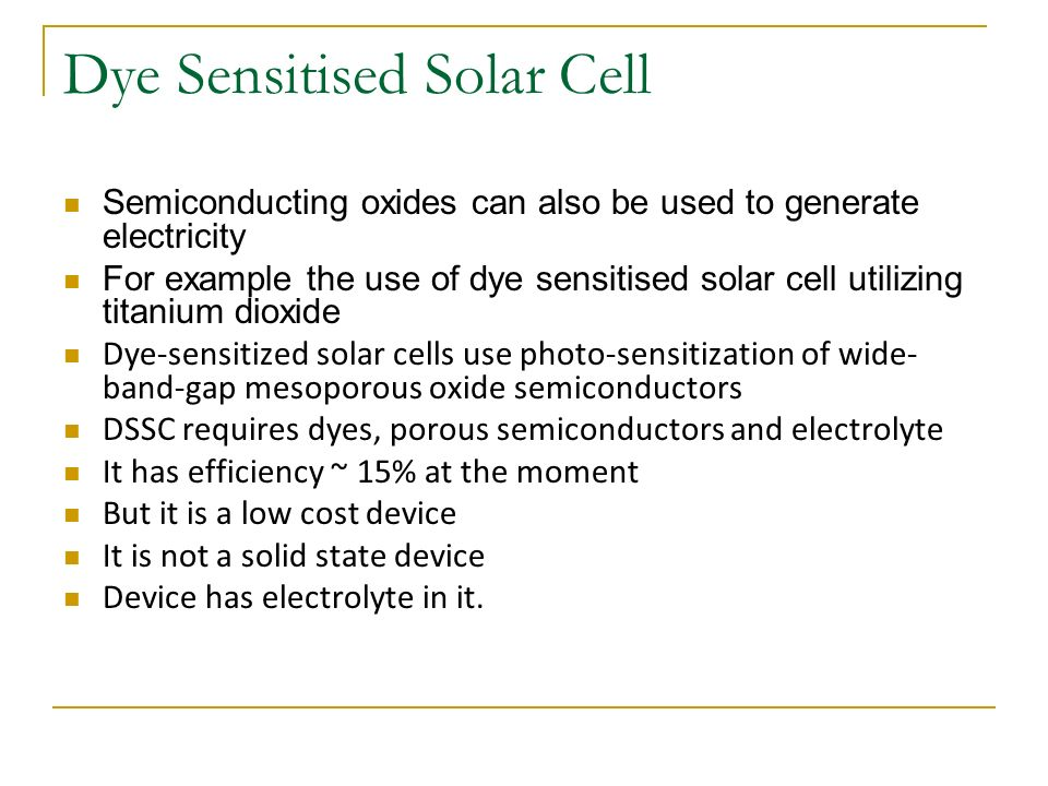 dye sensitised solar cell thesis Dye-sensitized solar cells on alternative dye-sensitized solar cells the largest sts photoelectrode cells prepared in the course of this thesis were 6 cm x 6.