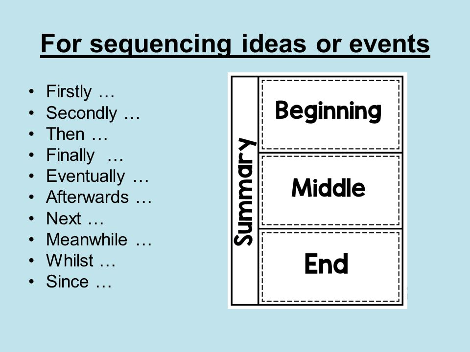 For sequencing ideas or events