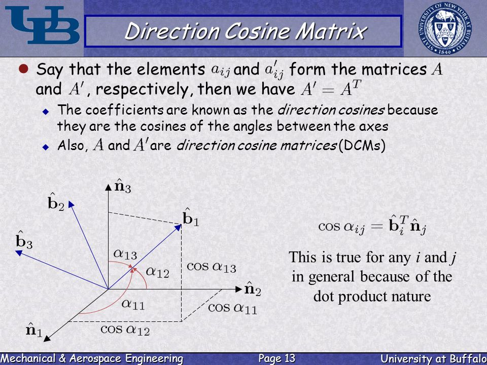 direct cosine matrix In analytic geometry, the direction cosines (or directional cosines) of a vector are  the cosines of  they are useful for forming direction cosine matrices that  express one set of orthonormal basis vectors in terms of another set, or for  expressing a.
