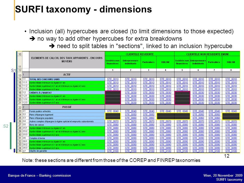 SURFI taxonomy - dimensions