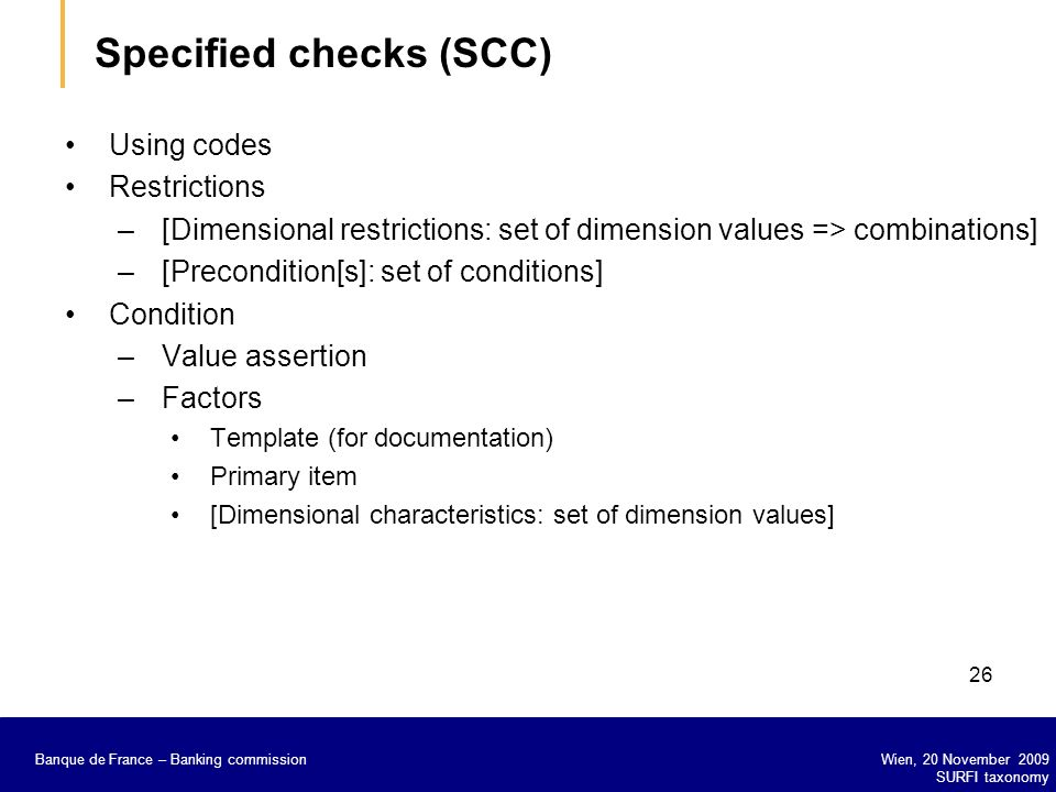 Specified checks (SCC)