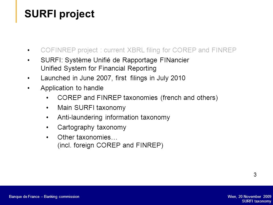 SURFI project COFINREP project : current XBRL filing for COREP and FINREP.