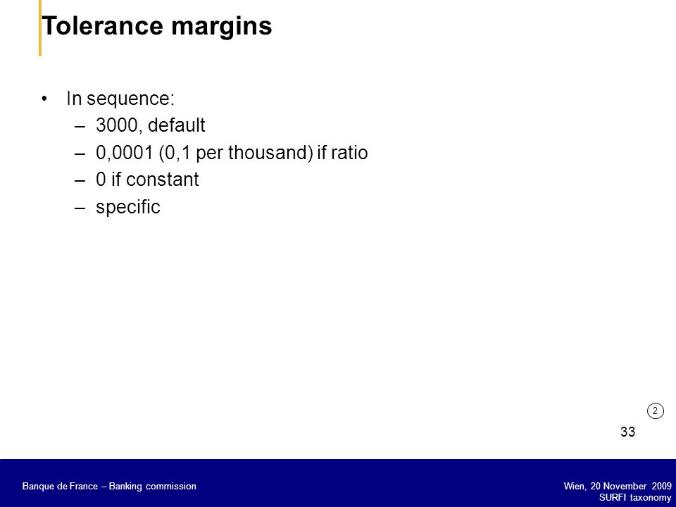 Tolerance margins In sequence: 3000, default