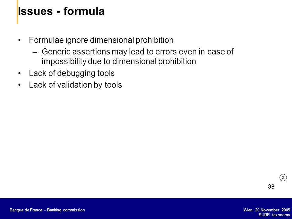 Issues - formula Formulae ignore dimensional prohibition
