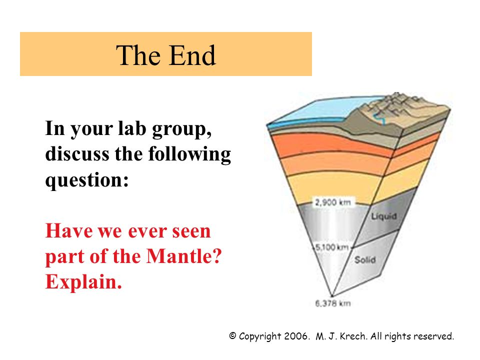 The End In your lab group, discuss the following question: