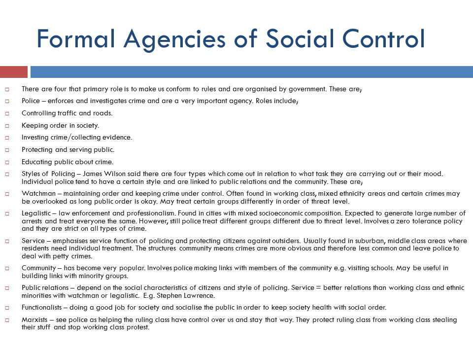 The main forms of social control are as follows