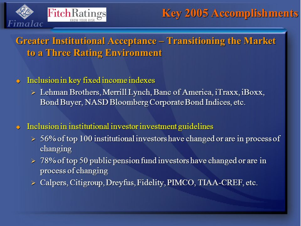 Key 2005 Accomplishments Greater Institutional Acceptance – Transitioning the Market to a Three Rating Environment.