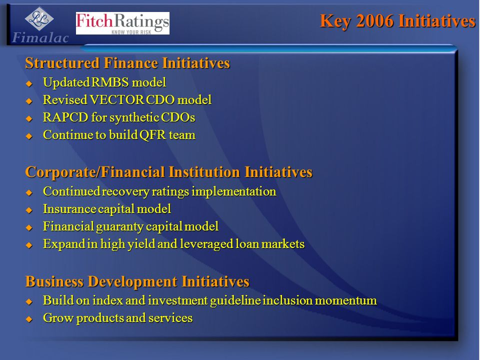 Key 2006 Initiatives Structured Finance Initiatives