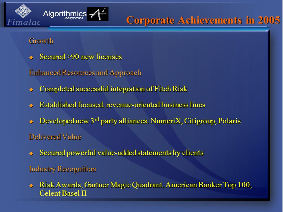 Corporate Achievements in 2005