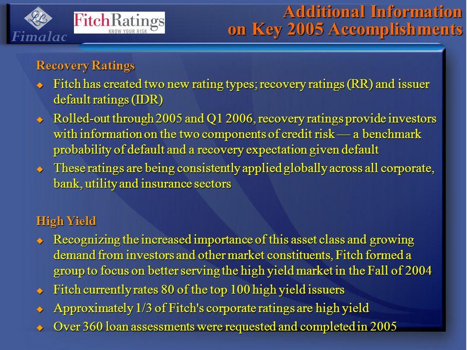 Additional Information on Key 2005 Accomplishments