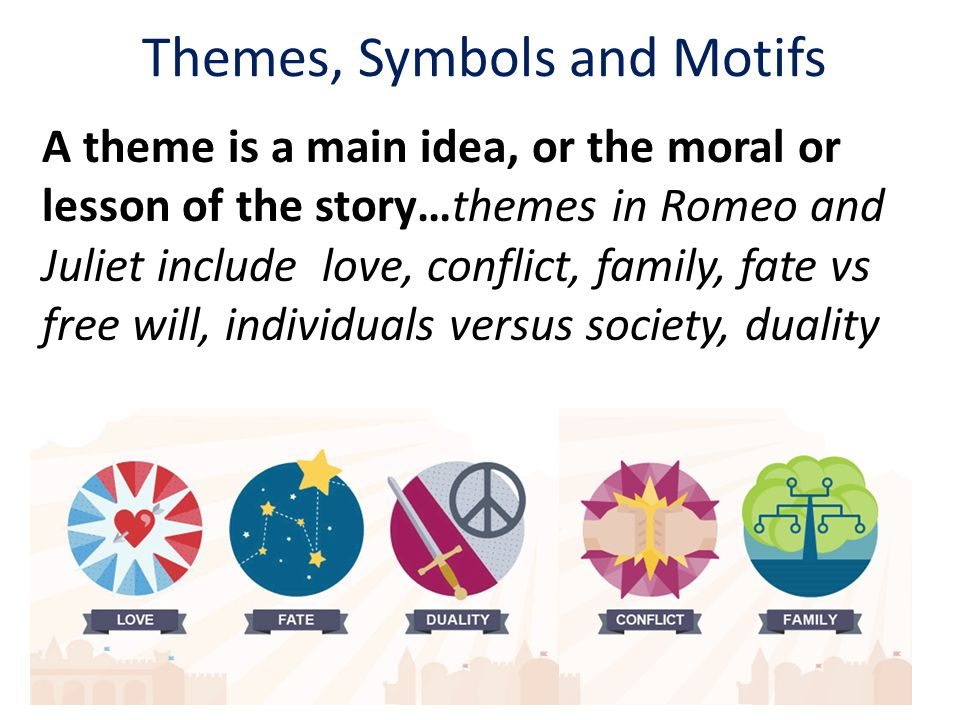 themes motifs symbols in romeo Start studying romeo and juliet themes/motifs 18 quotes learn vocabulary, terms, and more with flashcards, games, and other study tools.