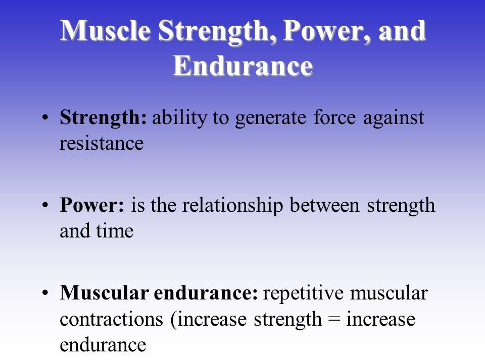 relationship of power to static and dynamic strength