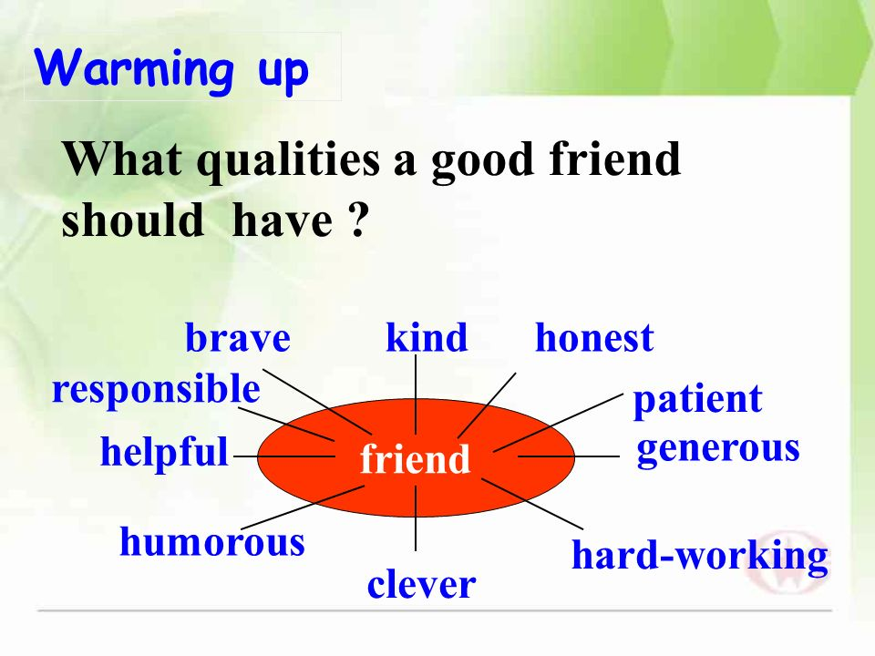 qualities in a friend Qualities that are important in a friend are honesty and loyalty.