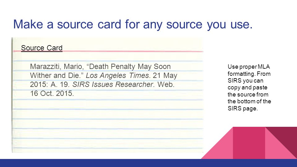 How to Write a Source Card
