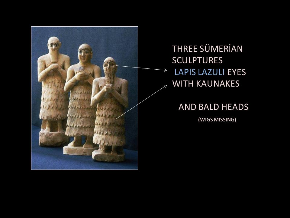 THREE SÜMERİAN SCULPTURES LAPIS LAZULI EYES WITH KAUNAKES AND BALD HEADS (WIGS MISSING)