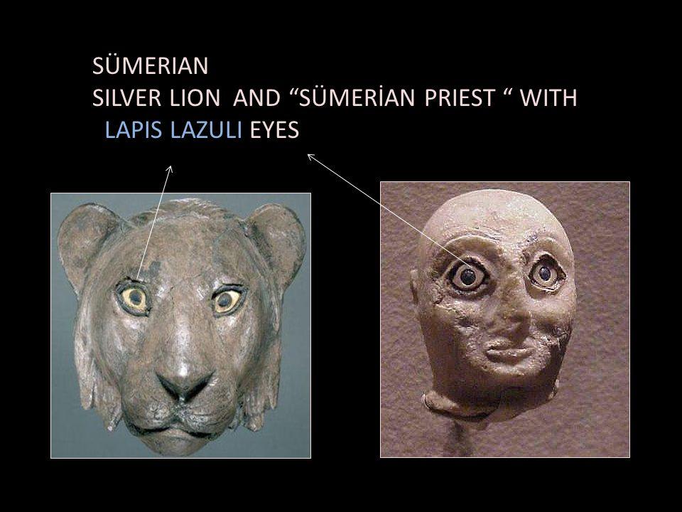 SÜMERIAN SILVER LION AND SÜMERİAN PRIEST WITH LAPIS LAZULI EYES