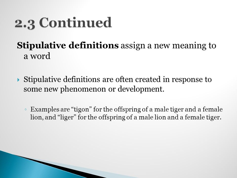 Definitions february 8th ppt video online download 23 continued stipulative definitions assign a new meaning to a word voltagebd Choice Image