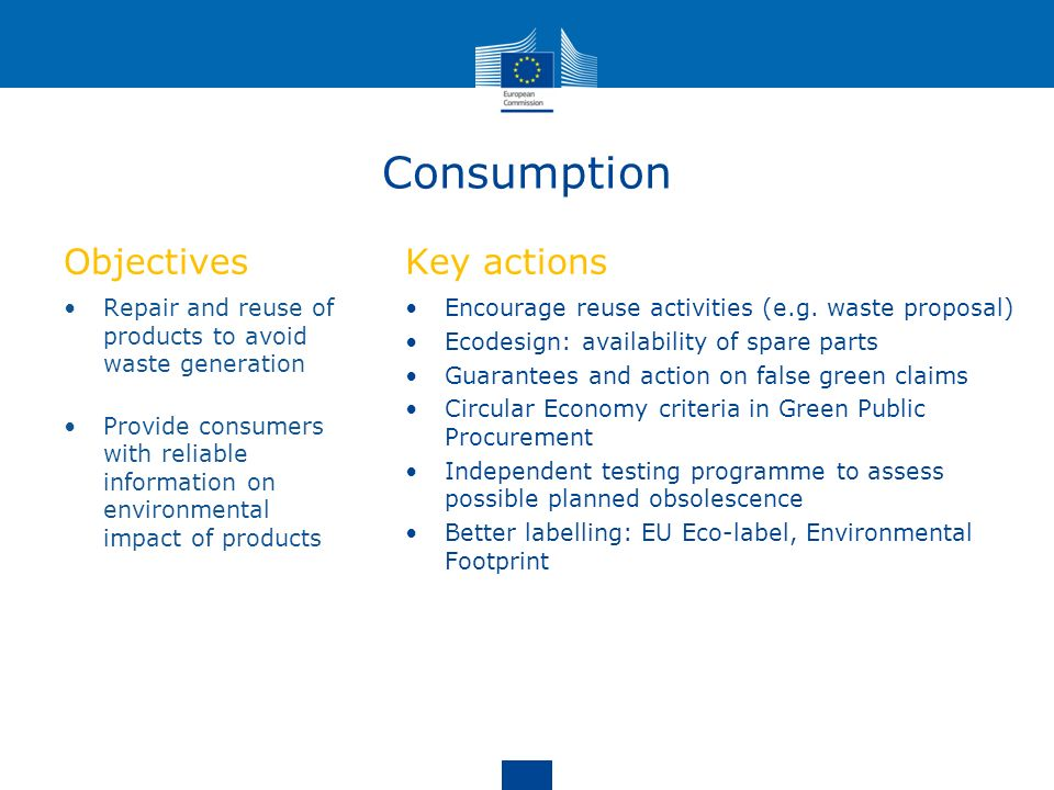 Consumption Objectives Key actions