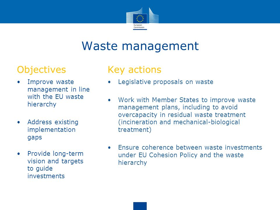 Waste management Objectives Key actions