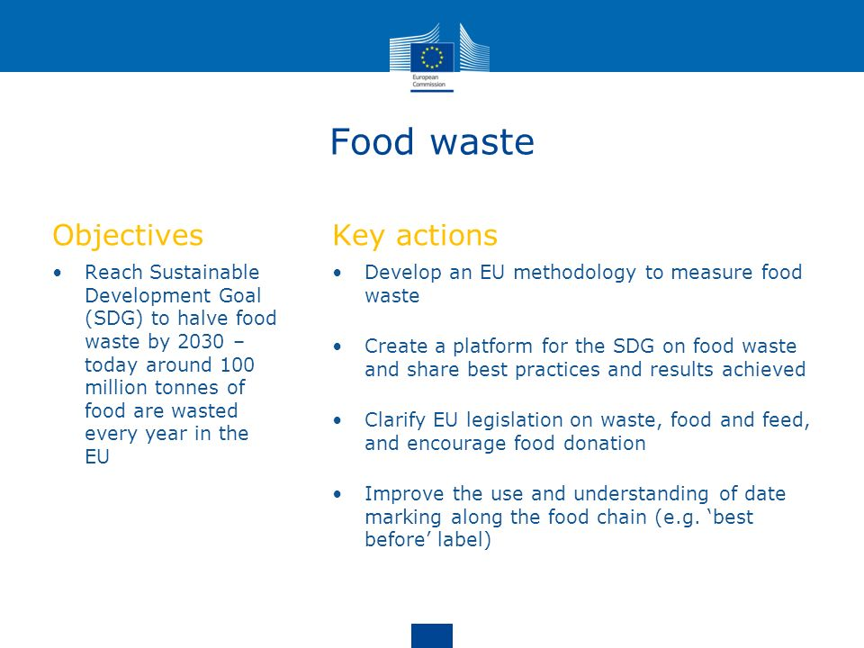 Food waste Objectives Key actions