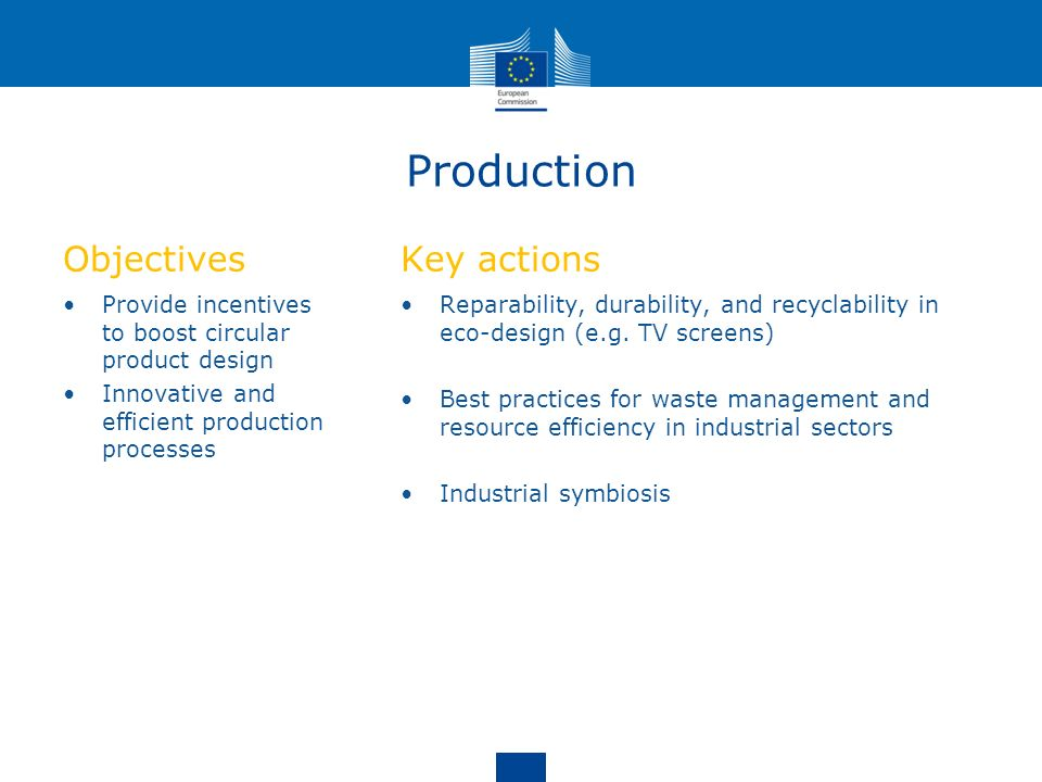 Production Objectives Key actions