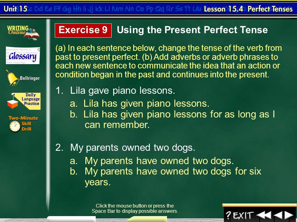 how to change into present perfect tense