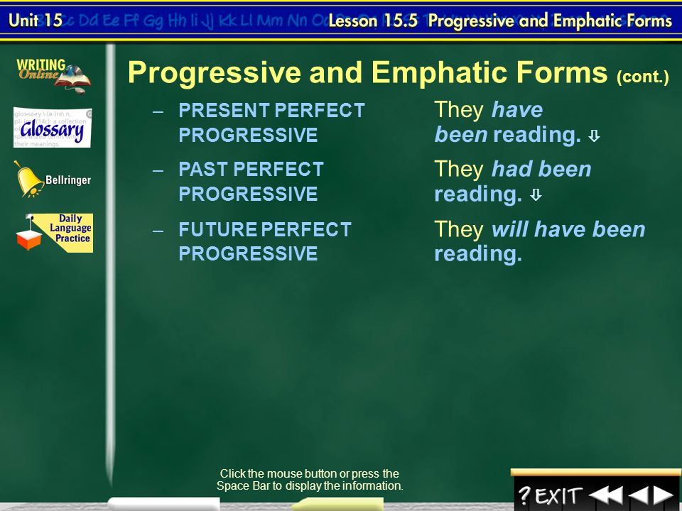 emphatic forms exercise Chapter 7 verb usage emphatic verb tense the emphatic tenses of a verb are used to add emphasis in addition, the emphatic tense can be used with the word not in negative sentences and to form.