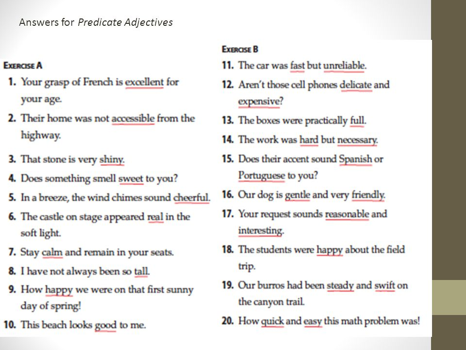 Direct and Indirect Objects Subject Complements ppt download – Predicate Adjective Worksheet