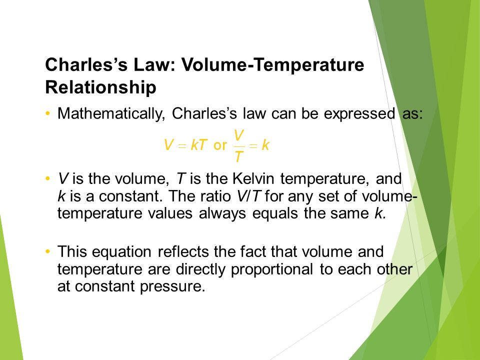 temperature and volume relationship directly proportional