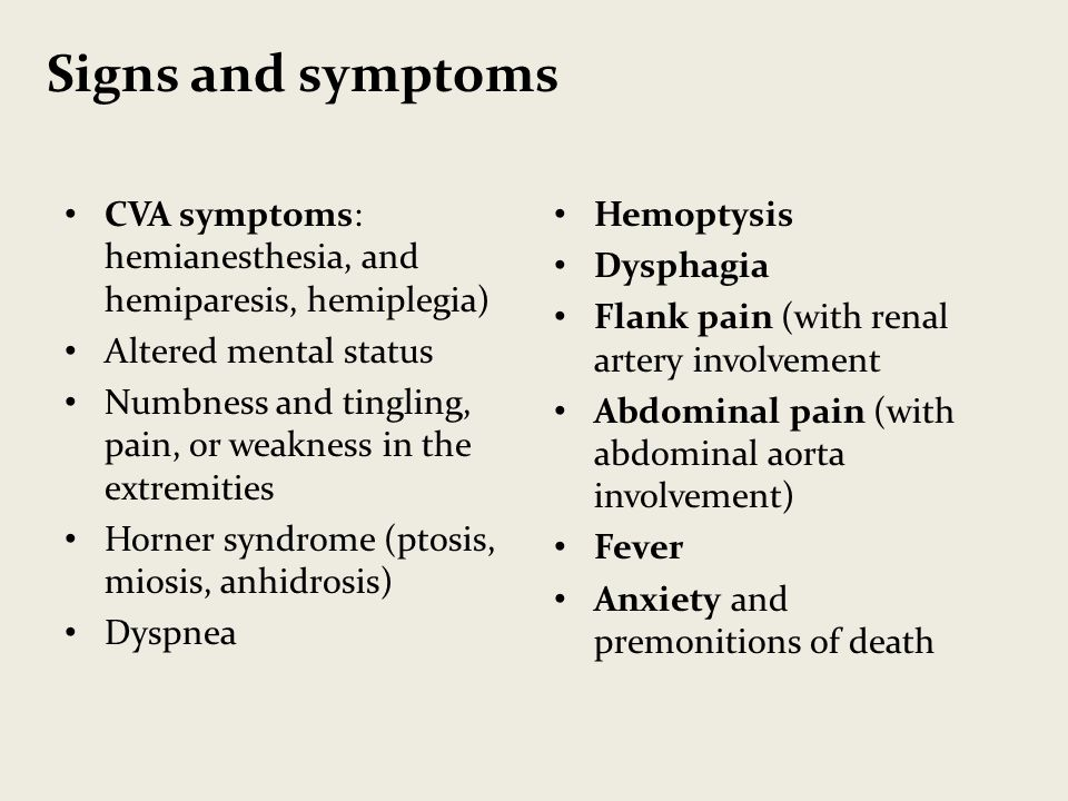 Signs and symptoms CVA symptoms: hemianesthesia, and hemiparesis, hemiplegia) Altered mental status.