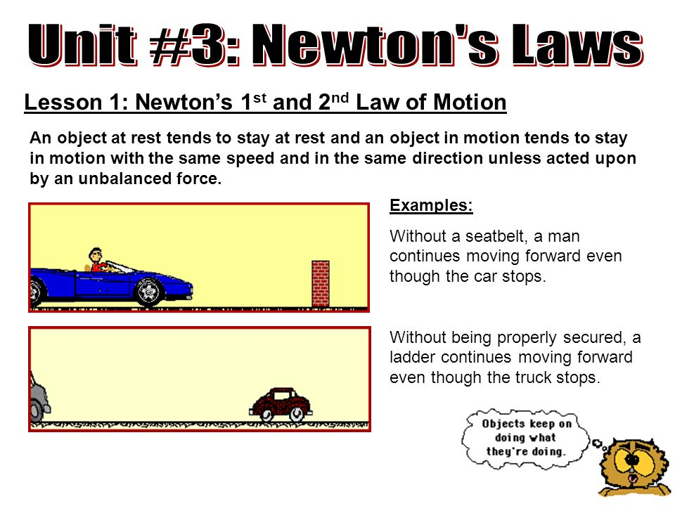 Unit 3 Newtons Laws Lesson 1 Newtons 1st And 2nd Law Of Motion
