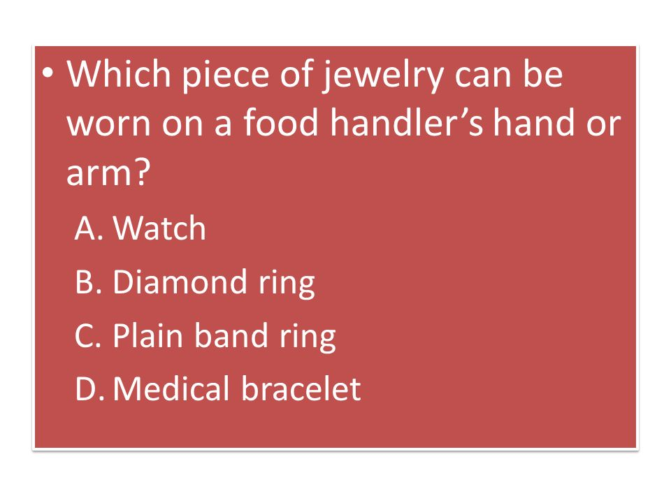 What Jewelry Can Food Handlers Wear While Working