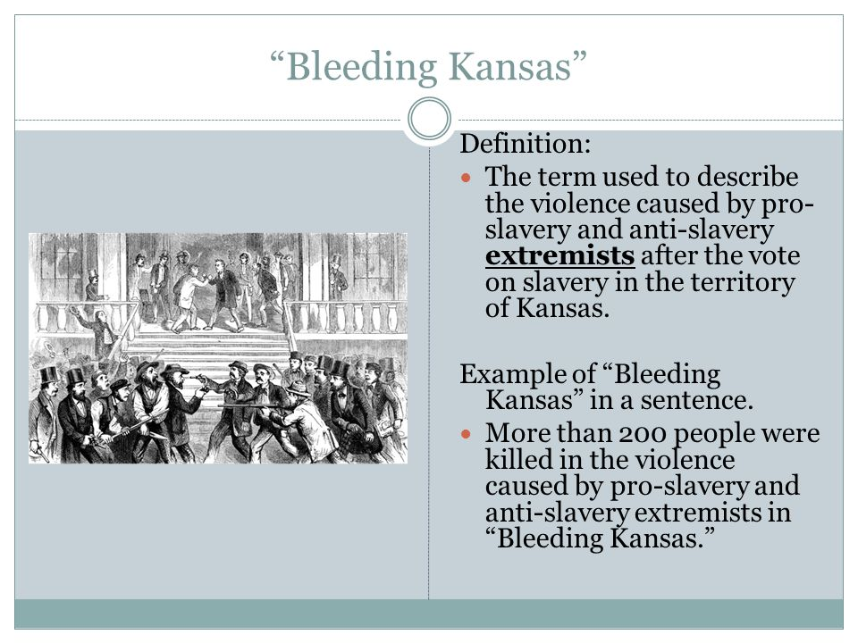 a description of bleeding kansas Blight continues his description  dred scott, bleeding kansas, and the impending crisis of the union,  bleeding kansas and the beating of charles.