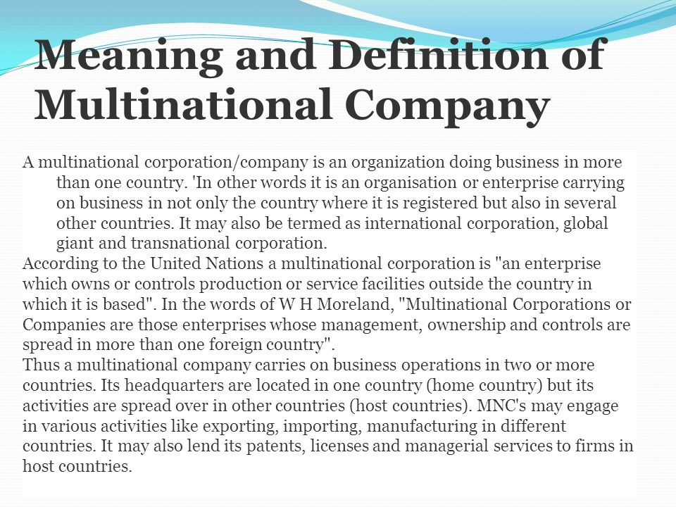 mnc multinational corporation Multinational corporations (mncs) engage in very useful and morally defensible activities in third world countries for which they frequently have received little credit.