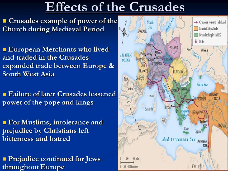 the history and effects of the crusades on medieval europe Muslims in spain and the slavs in eastern europe politically the crusades weakened the byzantine empire and accelerated its fall (see ch 7) although the early.