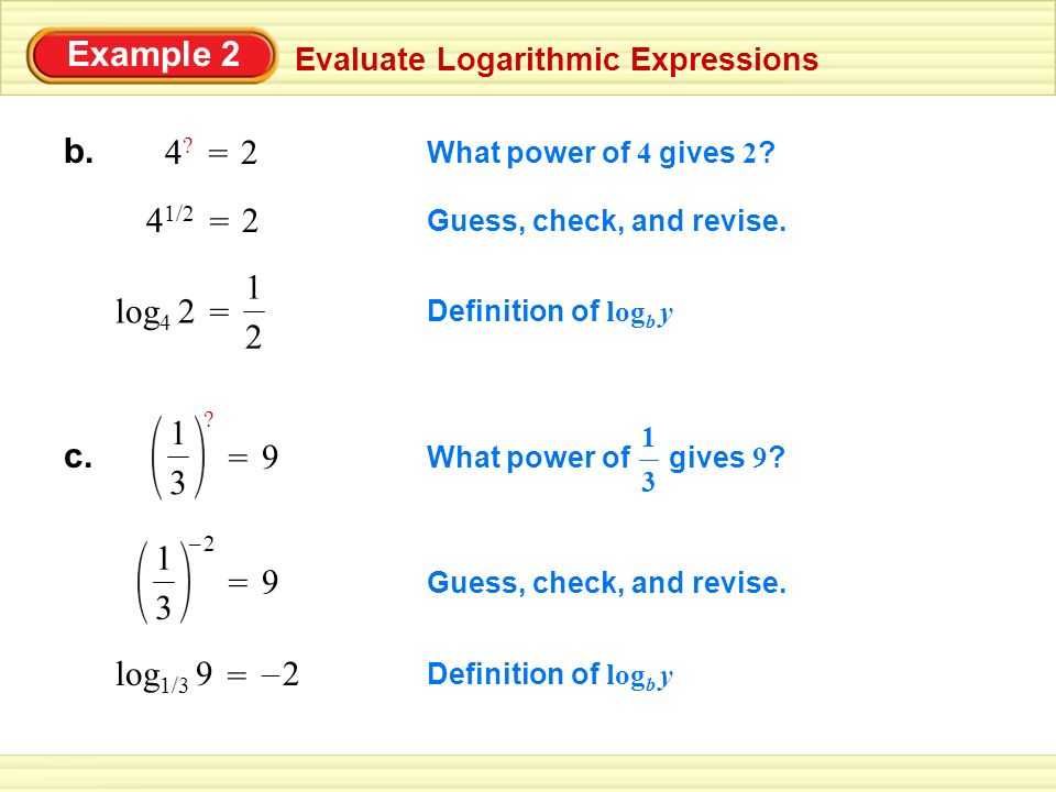 Example 1 LOGARITHMIC FORM EXPONENTIAL FORM a. log2 16 = 4 24 = 16 ...