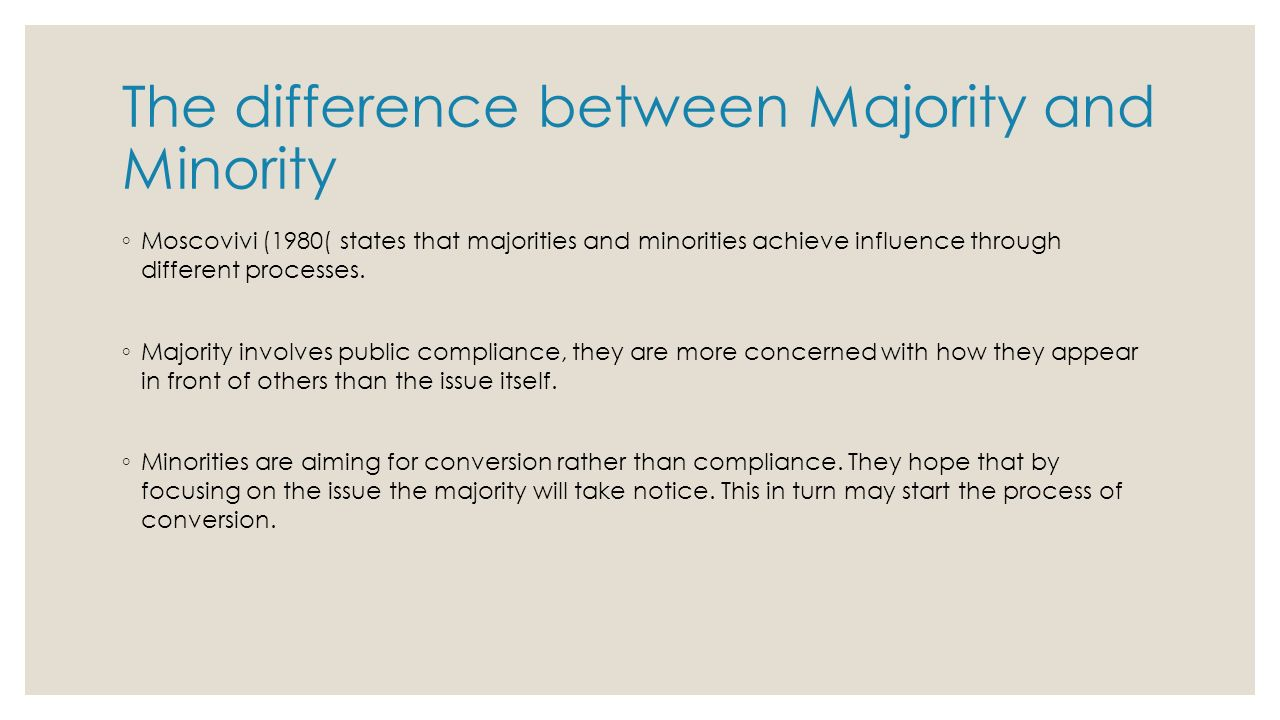 compare and contrast minority and majority Compare and contrast minority and majority influence 1903 words apr 20th,  2013 8 pages as social beings, with each one of us connected to a whole  network.