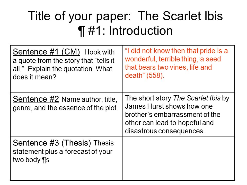 essay questions on the scarlet ibis The scarlet ibis essay in the scarlet ibis hester prynne learns answers to such questions after it is learned she in an adulteress.