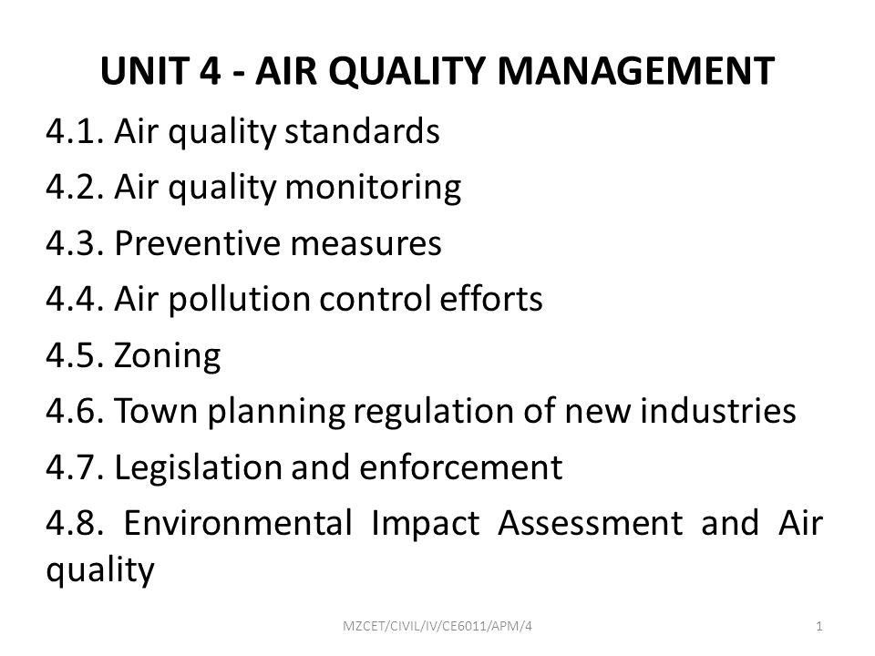 UNIT 4 - AIR QUALITY MANAGEMENT