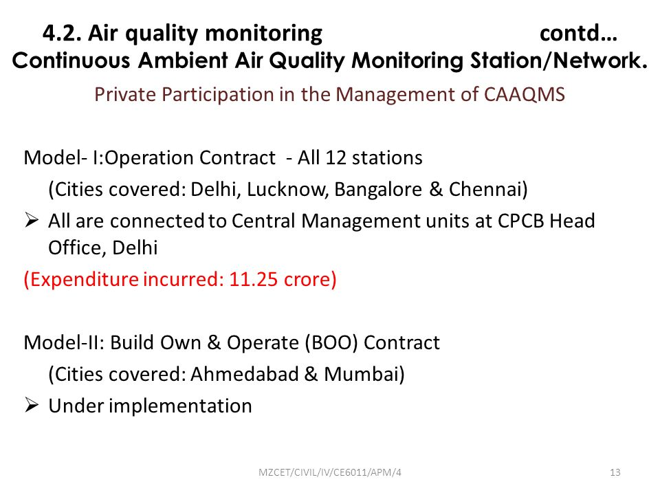 Continuous Ambient Air Quality Monitoring Station/Network.