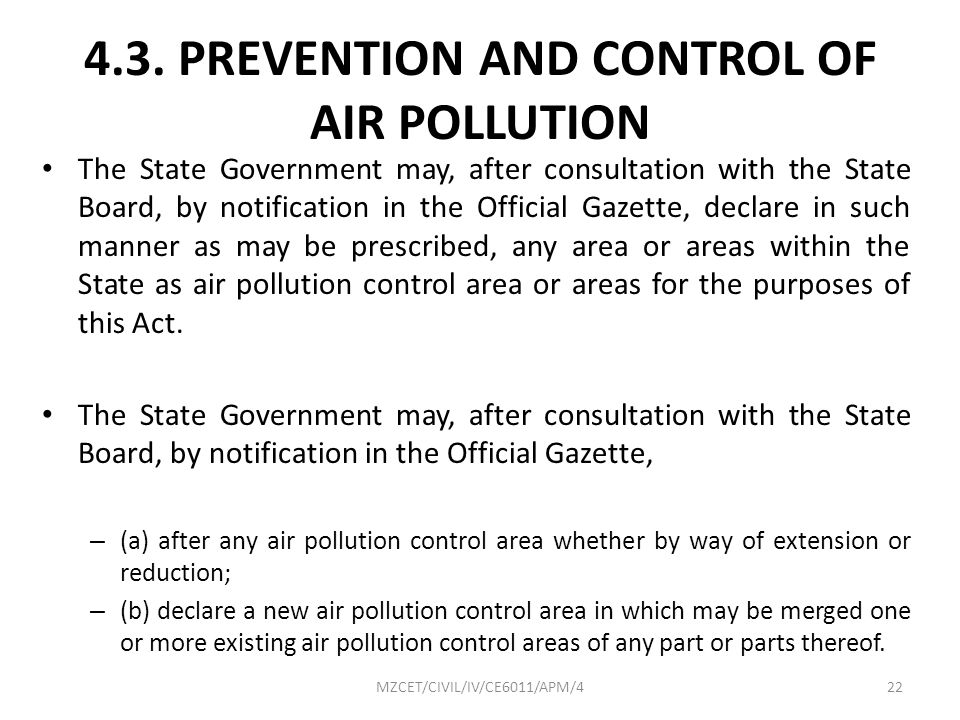 4.3. PREVENTION AND CONTROL OF AIR POLLUTION