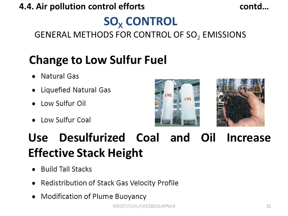 SOX CONTROL GENERAL METHODS FOR CONTROL OF SO2 EMISSIONS