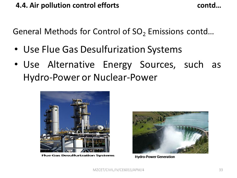 General Methods for Control of SO2 Emissions contd…