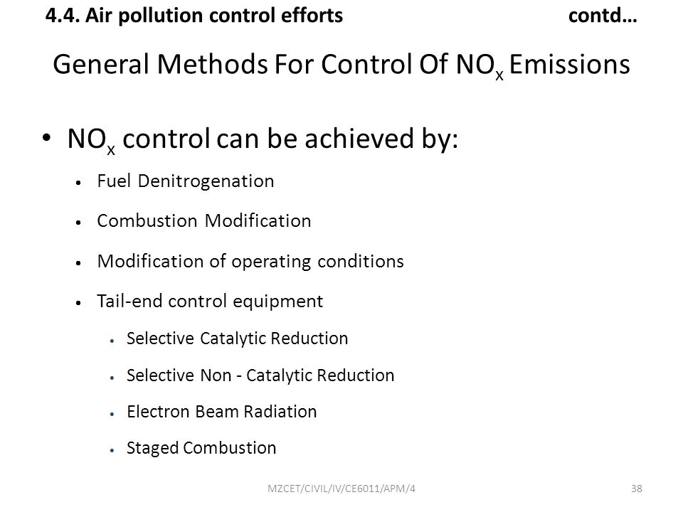 General Methods For Control Of NOx Emissions
