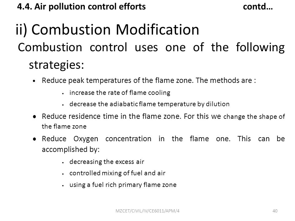 ii) Combustion Modification