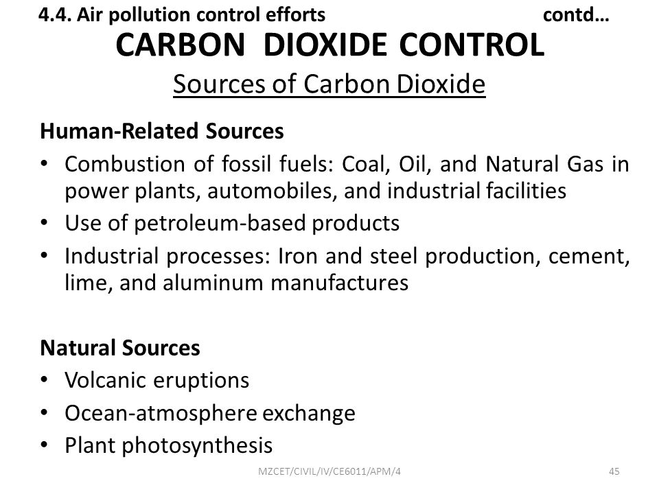 CARBON DIOXIDE CONTROL Sources of Carbon Dioxide
